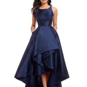 Adrianna Papell High-Low Mikado Gown Midnight Navy